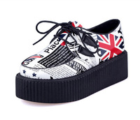 2014 Spring New women Creepers Shoes Flag Flats Shoes Shoelace Platform Punk Rock Shoes