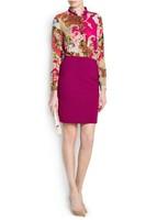Free shipping fashion 2015 women autumn dress mango patchwork full sleeve high quality silm dresses L0598