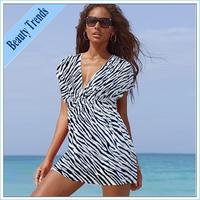 2014 Sexy deep V-neck short sleeve solid color dress fashion beautiful and romantic beach dress skirt summer beach essential