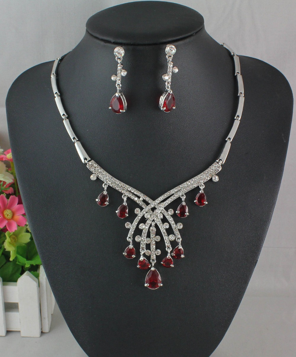 2014 Free Shipping FASHION RED GARNET RUBY TOPAZ WHITE GOLD PLATED NECKLACE EARRING SET NK111()