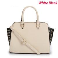Rivet New 2014 Women Handbags Designers Brand M Briefcases  Zipper Strap Purse Drop shipTravel Bags Luggage With Logo Tag