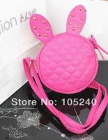 2014 new tide female bag rivet round mini cartoon cute bunny ears bag ling packet inclined shoulder bag Free shipping ##yy889