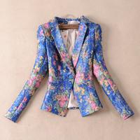 2014 spring women's flower blazer fashion slim casual long sleeve print blazer jacket female short coat outerwear small blazers