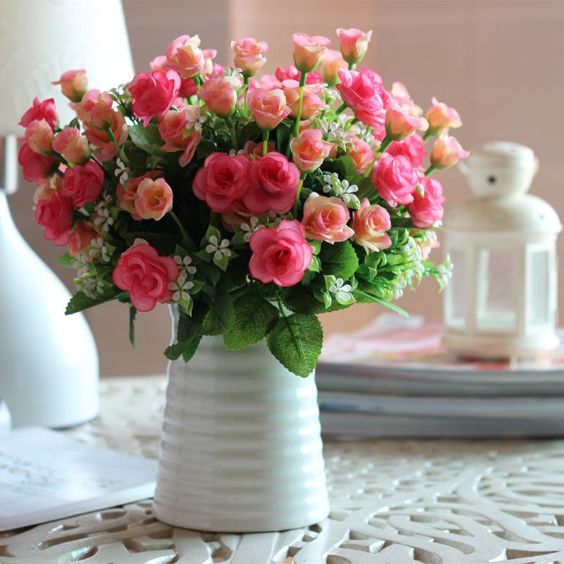 Stripe basin pomegranate fashion brief artificial flower decorative vase artificial flower set dining table decoration flower(China (Mainland))