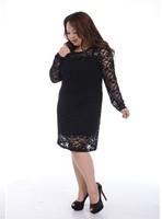2013 fashion women plus size clothing women plus dress autumn black lace knee-lenght dress  Free shipping