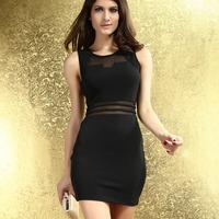 2014 New Fashion Summer Women White Black Sleeveless O-Neck Sexy Bodycon Mini Dress with Mesh Insert HF2895 Free Shipping