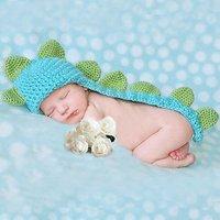 Cute Baby Infant Dinosaur Costume Crochet Knit Photo Prop 0-6 month Newborn