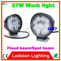 2psc/lot Sale LED 27W Offroad Worklight coolwhite Work Lamp Spot/flood Beam LED Driving 9leds Round ATV SUV Light Fog Lamp DC12V