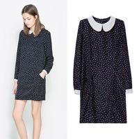 Spring 2014 new women's European style irregular doll collar dot dress female lf-2334