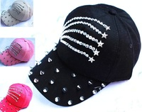 America  version of  the Silver rhinestones  baseball caps,hats for women  peaked cap,sun hat Denim hat wholesale
