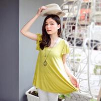 fashion women 2014 spring lotus leaf flower umbrella long design female t-shirt big size s 7l