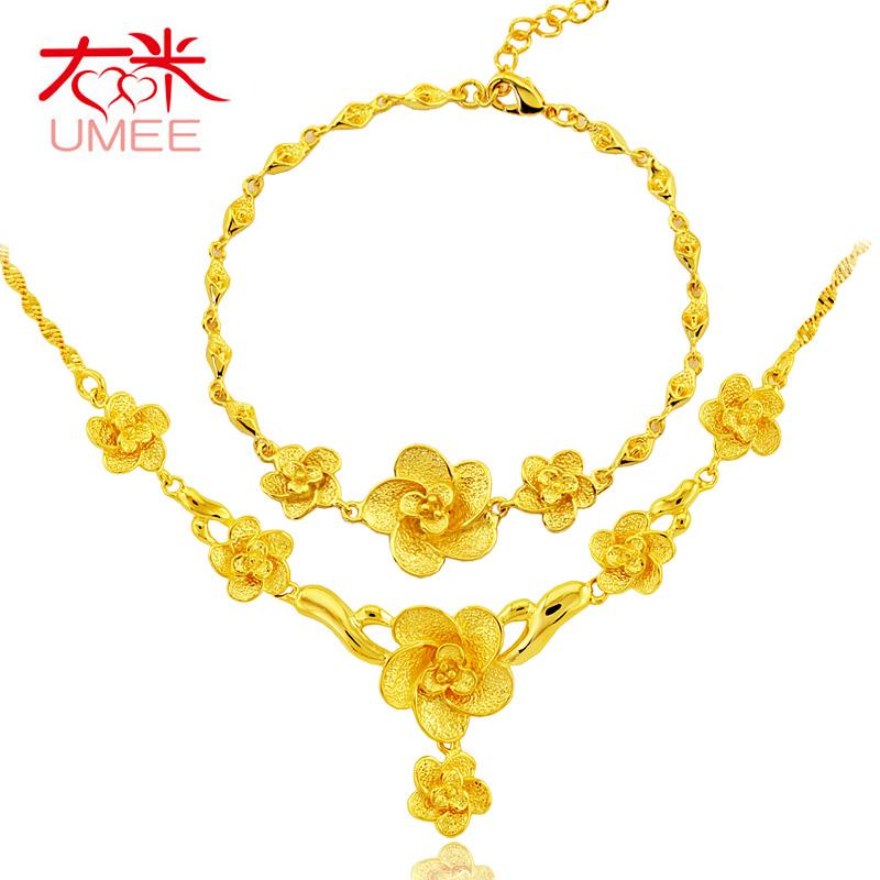 Wedding gift bride flower set decoration women's gold-plated necklace bridal accessories mandarin duck three pieces set(China (Mainland))