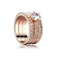 Crystal diamond three-ring triad ring ring commitment of love Rose gold finger ring