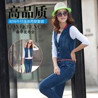 Fashion 2014 tooling long-sleeve denim jumpsuit handsome female fashion jumpsuit  free shipping