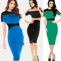 2014 New European style #040 Contrast Color Patchwork Slim Celebrity Dress Women Business Wear Knee-Length Sheath Bodycon Dress