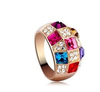Crystal with the colorful gem ring female index finger ring to Europe and the United States to restore ancient ways costly 91