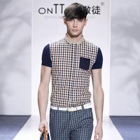 XXXL plus size men fashion casual shirts 2014 slim fit men brand check shirt cotton men's clothing moda camisas