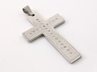 new fashion 2014 design cross rhinestone pendant  big silver cross 316L stainless steel