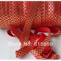 13 colors! Small Quatrefoil Gold Foil Hair Elastic-100Yards #250 Red- Fold Over Elastic Ribbon-Factory Custom Headbands FOE