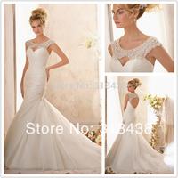 New Design MZ-772 Elegant Mermaid Elaborately beaded  on Organza Wedding Dress White/Ivory VESTIDO DE NOIVA