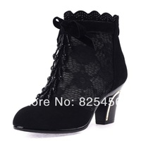 hot-sell 2014 genuine leather platform high-heeled shoes cool boots women's shoes lace net boots cutout open toe sandals