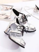 2014 summer new Gauze  Thick with high-heeled shoes PU solid British style cross strap sandals
