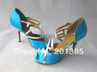 Wholesale Ladies Sky Blue Satin LATIN Ballroom Dance Shoes Salsa Dance Shoes Tango Line Bachata Dancing Shoes 34-41