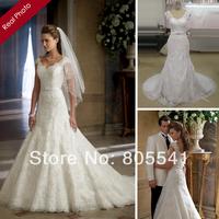 Actual Images 2014 Vintage Cap Sleeve V Neck Lace Bridal Gown Vestidos do Novia A-line Lace Applique Wedding Dress W2302