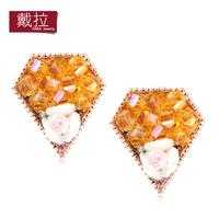fashion women's Stud earring big earrings yellow rose triangle handmade accessories TN375