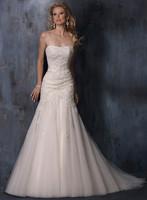 2014 luxurious bride wedding dress fish tail slim train bridal gown sweetheart wedding dress