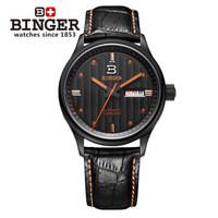 Binger brand men Noctilucent watches men self automatic mechanical black leather strap watch hollow helmsman sailing wristwatch