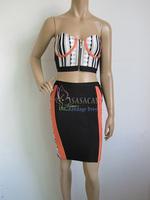 70% Discount!New Strapless Jacquard Top and Dress Sets Elastic Knitted bandage dress Evening Dress Bandage Women Celebrity Dress