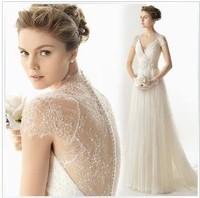 wholesale  Quality crystal yarn V-neck sexy designer wedding dress slit neckline 2014 new 100% Guarantee Satisfaction