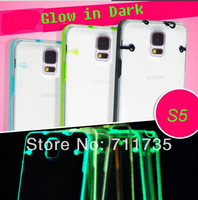 Case for galaxy s5.Ultra thin Transparent Crystal Clear Luminous PC hard Case For Samsung Galaxy S5 100pcs/lot DHL free