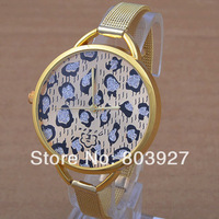 Leopard Grain Design watch ladies gold quartz watches women dress wristwatch