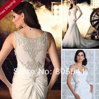 2014 Unique Satin Sheath Beaded Wedding Dress Spaghetti Strap vestido de noiva See Through Wedding Dress W10236