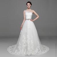 new 2015 crystal  short trailing bandage the bride wedding dress slim waist bride princess wedding dress