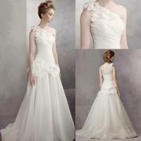 2015 new organza brief one oblique shoulder a bride elegant top wedding dress White  train yarn designing