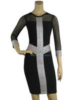 70% Discount! Black Mesh Silver Blocking Sexy Elastic Knitted bandage dress Women Celebrity Evening Dress Legerity Bandage Dress
