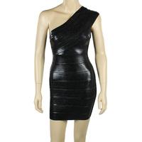 70% Discount!New Boutique One-Shoulder Black Blocking Elastic Knitted bandage dress Evening Dress Bandage Women Celebrity Dress