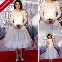 Vintage Designer Little White Ball Gown vestidos de novias Full Sleeve Satin Lace Applique Short Keyhole Wedding Dress W21054