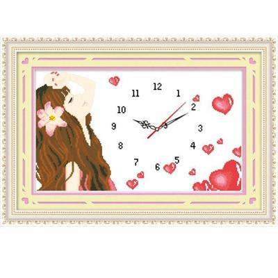 Unfinished Printed cloth clocks luminous cross stitch clock sunshine girl paintings(Hong Kong)