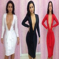 Bandage Celebrity Dress Fashion 2014 Winter Women Long Sleeve Sexy Bodycon Nightclub Novelty Club Dresses Free Shipping C-1043