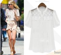 blouses & shirts new in 2014 Summer fashion ladies blouses ruffle lace chiffon shirt women short sleeve female shirts S M L XL