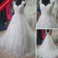 Actual Images Elie Saab Wedding Dress Ball Gown Cap Sleeve Lace Applique Beading Vintage Wedding Dresses HB2019