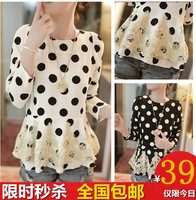 2014 spring women's lace chiffon patchwork slim long-sleeve dress female elegant basic skirt