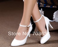 Free shopping new 2014 women's spring genuine leather high-heeled single shoes shallow mouth thin heels sexy white work shoes