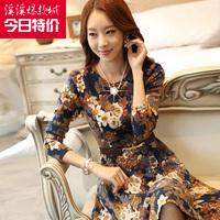 2014 spring plus size clothing long-sleeve autumn and winter medium-long basic one-piece dress