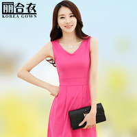 Clothing 2014 spring women's V-neck plus size slim sleeveless vest basic skirt one-piece dress