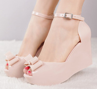 Wedges female sandals 2014 melissa jelly shoes bow platform open toe high-heeled shoes